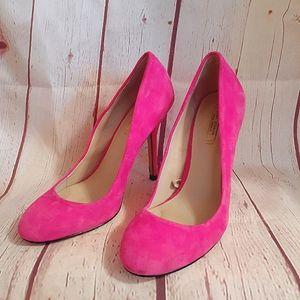 Zara Woman Hot Pink Suede Pumps Heels 7.5M
